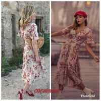ZARA NEW LINEN LONG FLORAL PRINT DRESS SIZE XS S M