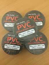 BLACK ELECTRICAL PVC INSULATING TAPE 19mm x 20m  FLAME RETARDANT  QTY 1