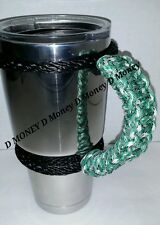 Paracord Handle for 40oz, 30oz & a 20oz Yeti, RTIC, & Ozark Trail Green Camo