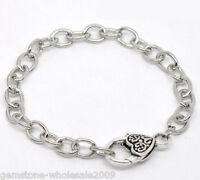 5PCS Wholesale Lots Silver Tone Heart Lobster Clasp Chain Bracelets 20cm GW