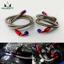 2Pcs 8AN Stainless Steel Braided Oil Filter Hose Oil Fuel Line + Fittings