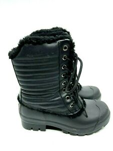 HUNTER Black Rubber Boots Lace Up Rubber Sole Shearling Lined Waterproof Size 6