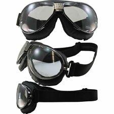 Nannini TT Motorcycle Goggles Hand-Sewn Black Leather Gunmetal Frame Grey Lens