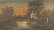"""""""Letztes Abendlicht am Seeufer"""" Ölgemälde ca. 1910 Monogramm G.v.C."""