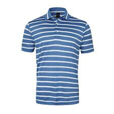 New Dunning Golf Striped Polo Shirt Blue & White Large L NWT