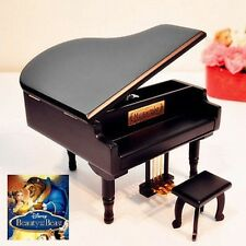 Black Wood Piano Wind Up Music Box : Beauty And The Beast Theme Song