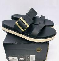 SOREL Women's Roaming Leather Buckle Slide Jute - Black US 10 / EUR 41
