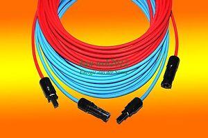 2x Solarkabel 15m rot und 15m blau 6mm2 inkl montierter MC 4 Stecker PV Montage