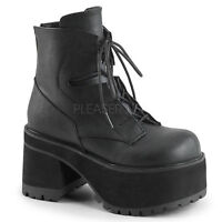 "Demonia 4"" Block Heel Platform Black Vegan Ankle Boots Goth Punk Rocker 6-12"