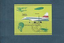 Tchad  bloc   avion  Concorde  de 1973  num: 14C  oblitéré   ND