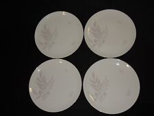 "4 Royal Palatine Germany 10 1/2"" Dinner Plates with Pink Gray Leaves & Gold Trim"