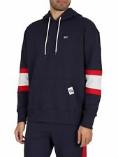 Tommy Jeans Men's Rugby Stripe Contrast Lining Pullover Hoodie, Blue