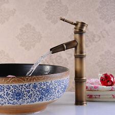 Tall Dark Brass Bamboo Design Basin Sink Kitchen Bathroom Mono Bloc Mixer Tap UK