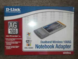 D-Link Dualband Wireless Notebook Adapter 108AG DWL-AG660~BRAND NEW