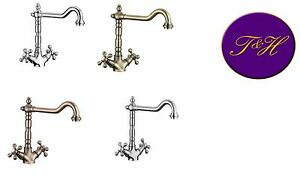 Traditional French Kitchen Belfast  Sink Tap Chrome pewter  Nickle Copper Brass
