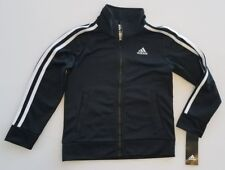 New ADIDAS Boy's Polyester Full Zip-Up Track Jacket Black/White NWT▪Youth size 5
