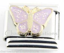 Purple Glitter Butterfly 9mm Italian Charm Stainless Steel Modular Link