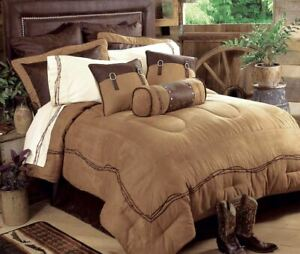 Tan Chocolate Barbwire Faux Leather Southwestern Country Queen 7-Piece Bed Set