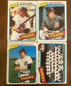 1980 Detroit Tigers Team Lot of 18 Topps Baseball Cards