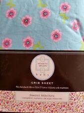 New Kenneth Brown Sweet Stitches Aqua Pink Floral Crib Sheet