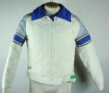 Vintage 1980s Roffe Ski Wear S XS Retro Puffy Jacket Blue White W/ Lift Ticket