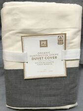 Pottery Barn PB Teen Gray Huntington Stripe Twin Duvet Cover