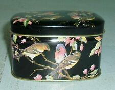 Small Tin Hinged Lid Box Container Made In England Song Bird Design
