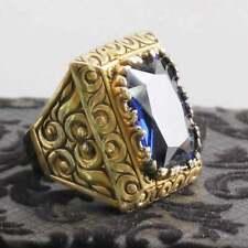Men's Signet Ring 4 ct Emerald Cut Tanzanite 14k Yellow Gold Finish Silver