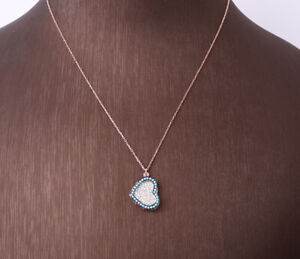 HEART TURQUOISE ROSE GOLD COLORED OVER .925 STERLING SILVER NECKLACE #32022