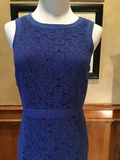 Talbot's Royal Blue Cotton Lace Sheath Dress 2P Exposed Zipper Lined Wedding EUC
