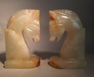 Pr Vintage (1970s) Solid Onyx Horse Head Busts. Chess Knight/ Equine. Home Decor