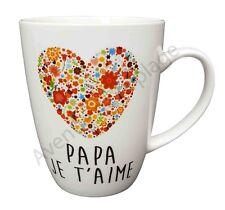 """Mug coeur """"Papa je t'aime"""" idée cadeau tasse café Fête des Pères neuf"""