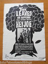 1966 THE LEAVES HEY JOE GARAGE MUSIC ADVERTISEMENT AD PUBBLICITA WERBUNG