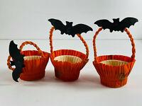 Vintage Halloween Lot (3) Die Cut Bat Nut Cup baskets NICE