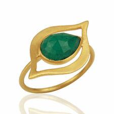 Emerald Gemstone Art Deco Evil Eye Designer Ring 925 Silver Handmade Jewelry