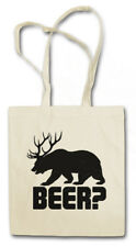 BEER? STOFFTASCHE Deer Bear Fun Hunt Hunter Alcohol Drinking Bier Alkoho