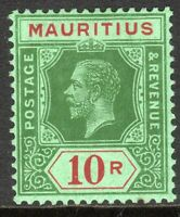 Mauritius1913 green/red on blue-green 10r multi-crown CA mint SG204