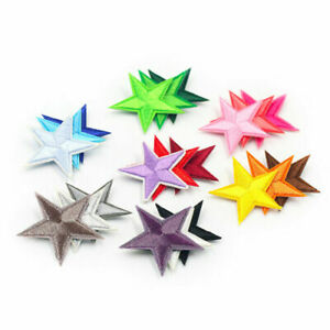 10PCS Small Colorful Star Patch Embroidered Sew On Iron On Badge Fabric Applique