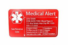 Medical Alert Wallet Insert Card Engraved Customized Personalized to Your Specs