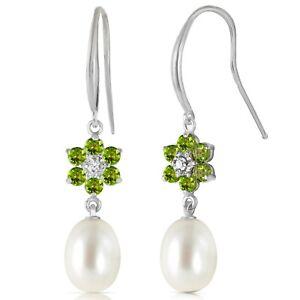 14K Solid White Gold Fish Hook Earrings w/ Diamonds, Peridots & Pearls