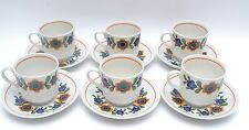 Fabulous Set of 6 Mid Century Vintage Flower Power Cups and Saucers by Barratts