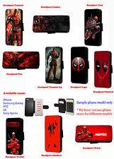 Deadpool phone case logo leather wallet flip case Samsung Iphone HTC SonyXperia