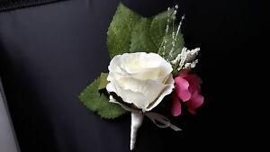 Beautiful Wedding Buttonhole Ivory Rose, Dark Pink Hydrangea, Foliage & Pearls