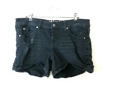 Womens Plus Size Black Distressed Destroyed Shorts sz 12 Torrid stretch lacing