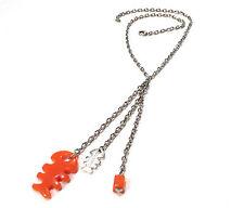 Bijou alliage argenté et lucite collier poissons Diplodocus breloques necklace