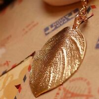 Charm Golden Long Shiny Fashion Leaf Pendant Necklace Jewelry Sweater Chain
