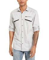 INC Mens Shirt Light Gray Size Small S Textured Utility Button Down $65 #206