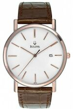 Bulova Mens Leather Dress Watch Croco-Embossed Strap Stainless Steel Case New