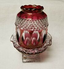 Westmoreland Waterford Ruby Flash Fairy Lamp Light 2 pc Glass Vtg