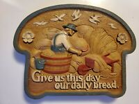 "Vintage Burwood Plastic Colorful Wall Plaque ""Give Us This Day Our Daily Bread"""